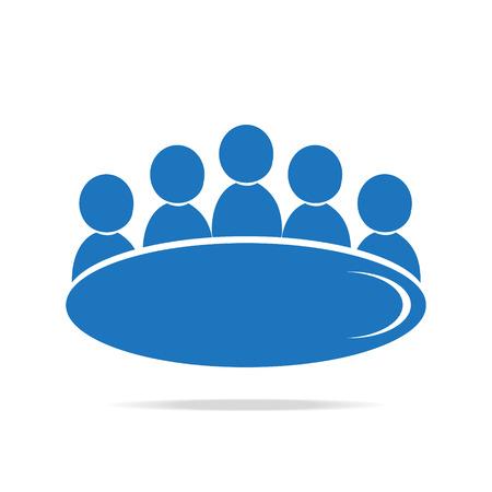 Vergadering Business pictogram, vector mensen symbool illustratie