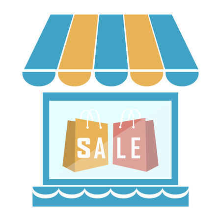 retail display: Shop building with shopping bag icon vector illustration Illustration