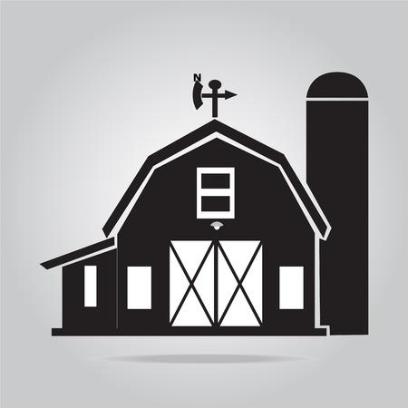 建物のアイコン、納屋のベクトル図