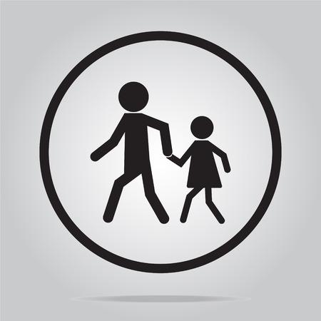 carriageway: pedestrian crossing sign, school road sign vector illustration