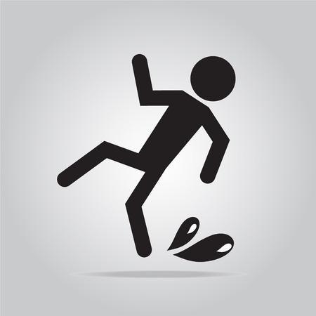 wet floor sign: Wet floor warning sign, icon vector illustration
