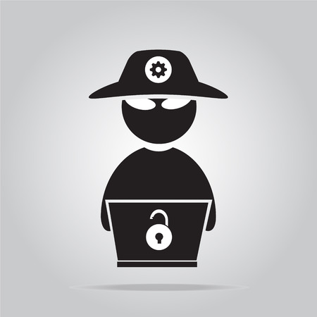Hacker icon with laptop flat style vector illustration Illustration