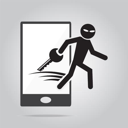spyware: Hacker, el concepto de seguridad de Internet. ilustraci�n vectorial estilo plano.