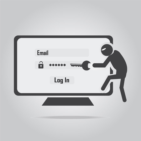 Hacker, Internet security concept. flat style vector illustration. Illustration
