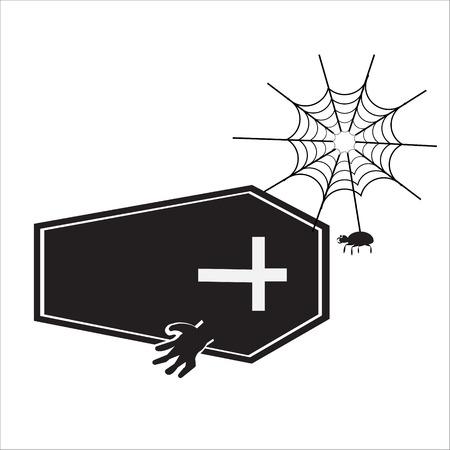 casket: Ghost and casket halloween sign vector illustration