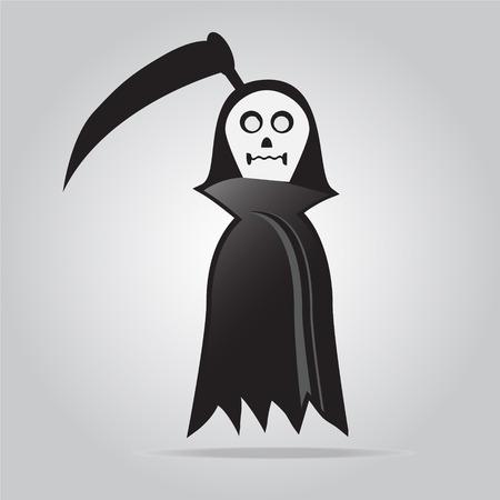 scythe: Ghost with scythe halloween sign vector illustration Illustration