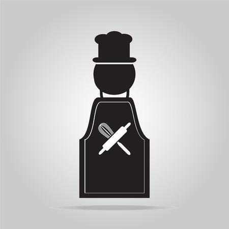 koken teken, schort met chef teken vector illustratie