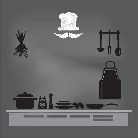cooking book: kitchenware sign on chalk board background,  cooking book page concept vector illustration Illustration