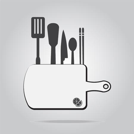 implement: kitchen utensils sign vector illustration