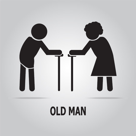 old aged: Elderly symbol. old people icon vector illustration