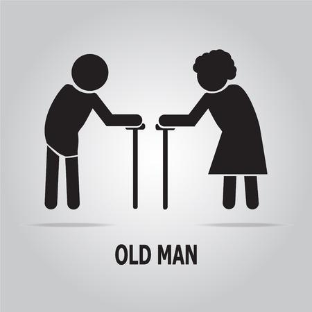 damas antiguas: S�mbolo de ancianos. ancianos icono de ilustraci�n vectorial
