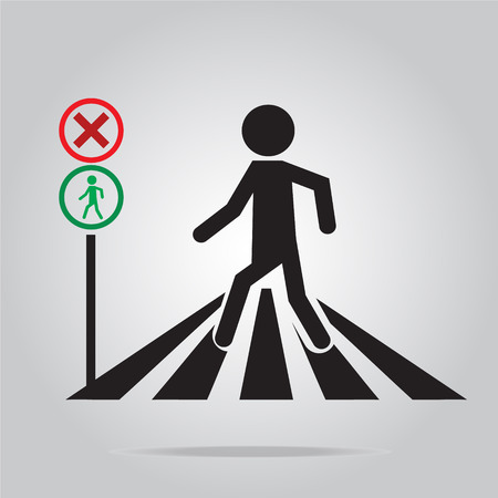 cautious: pedestrian crossing sign, school road sign vector illustration