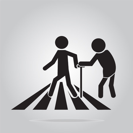 carriageway: pedestrian crossing sign, elderly crossing road sign vector illustration