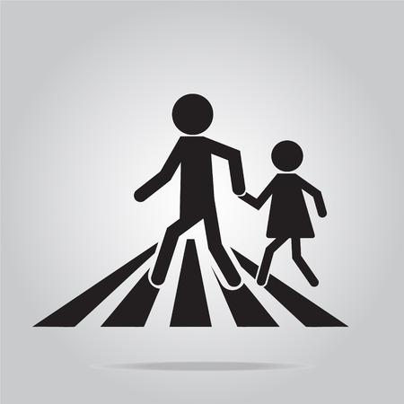 pedestrian: pedestrian crossing sign, school road sign vector illustration