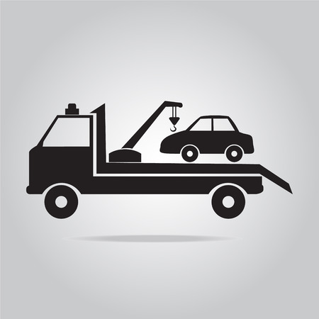 towing: Car towing truck vector illustration