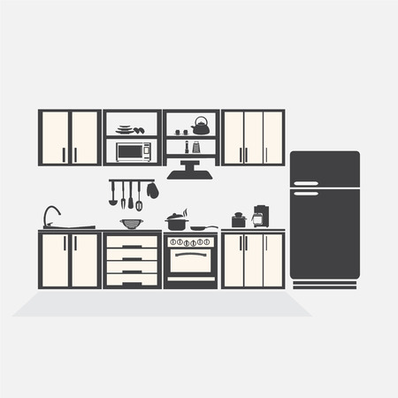 measuring spoon: Kitchen interior concept, kitchen symbol vector illustration