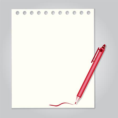 Pen met papier achtergrond vector illustratie