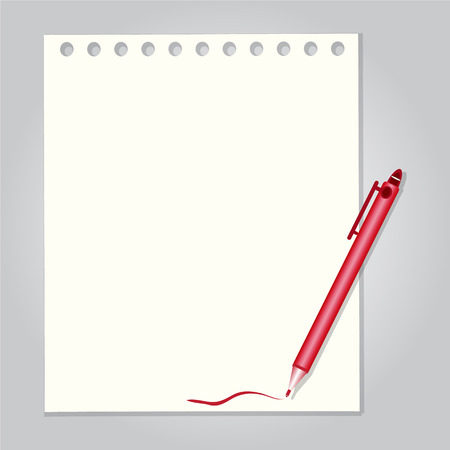 pen on paper: Pen with paper background vector illustration