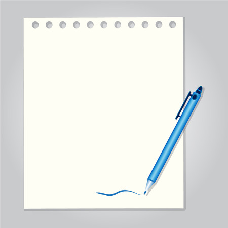 Pen with paper background vector illustration