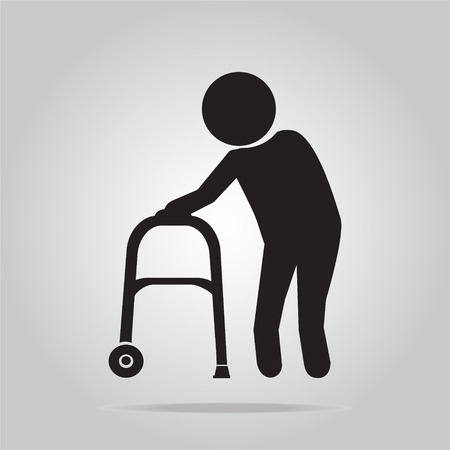 Bejaarde man en wandelaar symbool pictogram vector illustratie