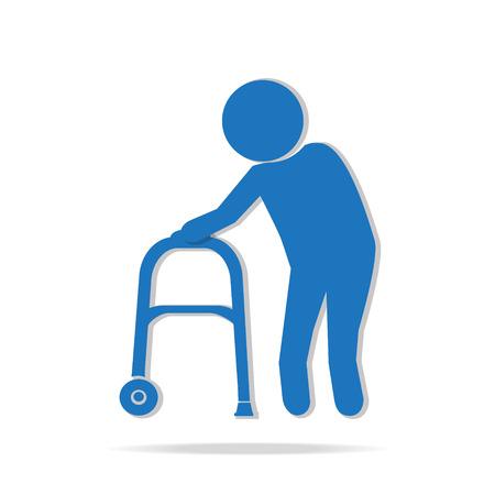 senile: Elderly man and walker symbol, icon vector illustration Illustration