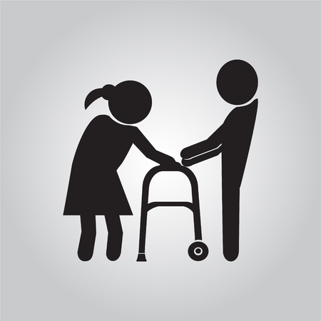 helps: Man helps elderly patient with a walker illustration