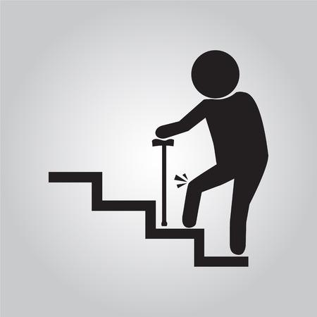 Lterer Mann mit Stock und Verletzungen des Knies. alte Menschen Symbol Vektor-Illustration Standard-Bild - 43615347