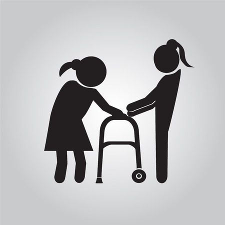 helps: Woman helps elderly patient with a walker illustration Illustration