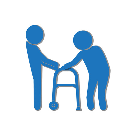 helps: Man helps elderly patient with a walker vector illustration