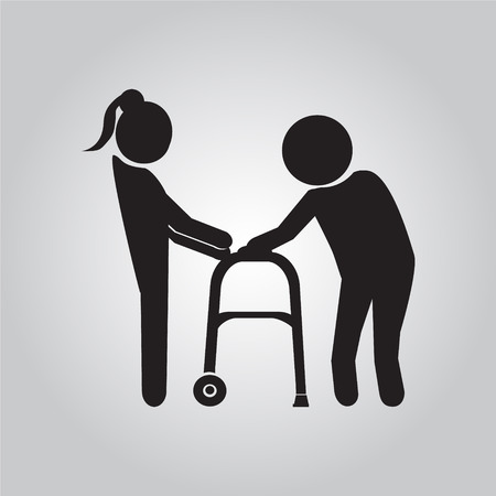 helps: Woman helps elderly patient with a walker vector illustration