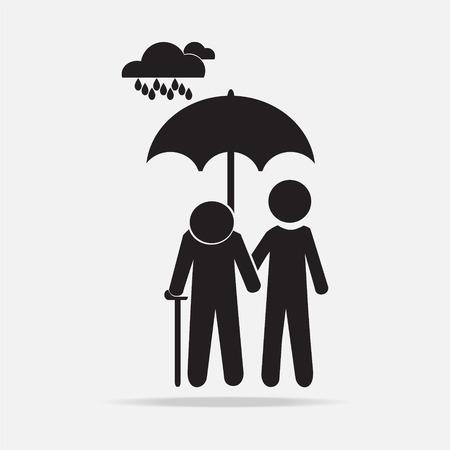senile: Man holding umbrella with elderly in the rain vector illustration Illustration