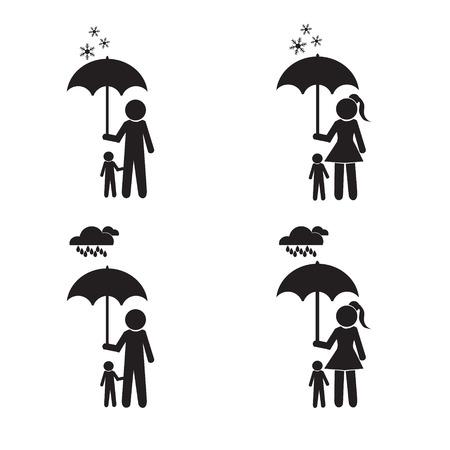 senile: Person holding umbrella and child set vector illustration
