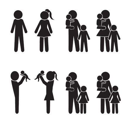 father and child: Family icons set, happy family avatar vector illustration