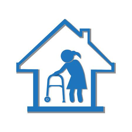 old nursing: Nursing home symbol, icon vector illustration Illustration