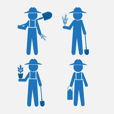 granjero: Hombre del granjero y la herramienta, ilustración vectorial set