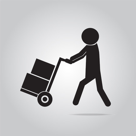 handcart: Person with handcart  symbol, Icon vector illustration