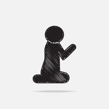 hajj: Prayer symbol, icon vector illustration Illustration