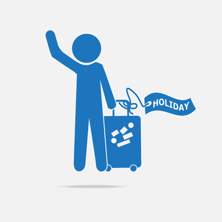 trolley case: Man with Luggage and holiday tag, symbol vector illustration