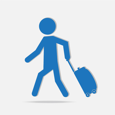 pulling: Man pulling a Luggage, symbol vector illustration