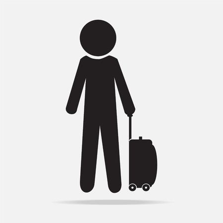 black pictogram: Man with Luggage and holiday tag, symbol vector illustration