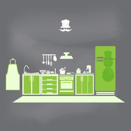 Keuken interieur concept, keuken symbool vector illustratie Stock Illustratie