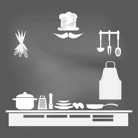 cooking utensils: Kitchen interior concept, kitchen symbol vector illustration