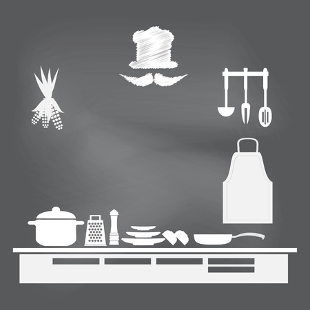 cooking recipe: Kitchen interior concept, kitchen symbol vector illustration