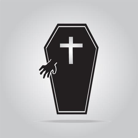casket: Casket and hand for Halloween symbol, vector illustration