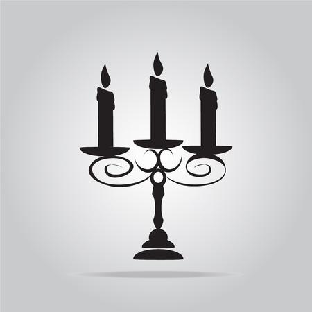 candelabra: Candelabra and spider for Halloween symbol, vector illustration