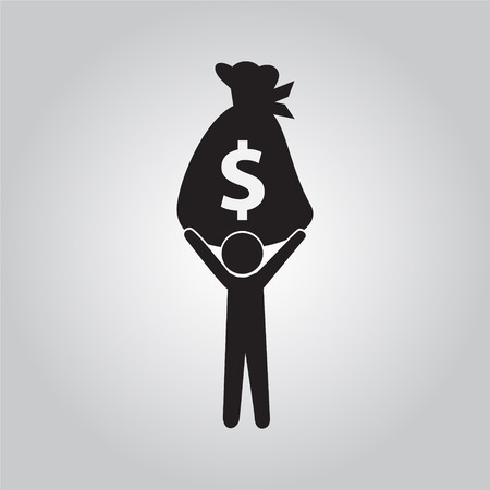 man carrying: Man carrying with a bag money, monochrome illustration