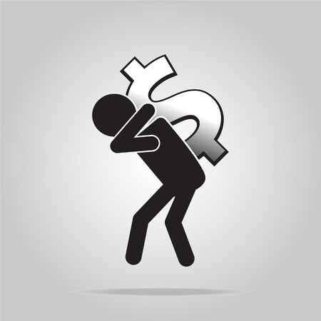 man carrying: Man carrying with a money sign, pictogram illustration Illustration