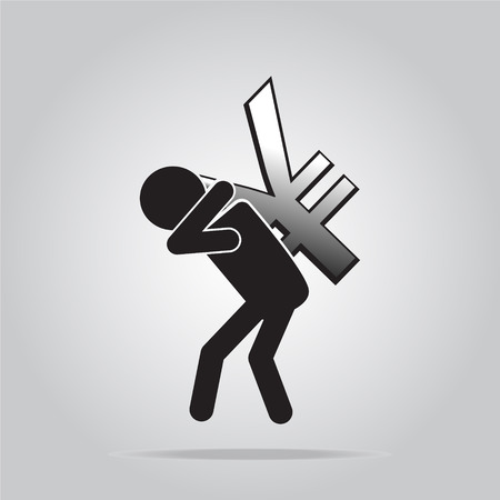 cupidity: Man carrying with a money sign, pictogram illustration Illustration