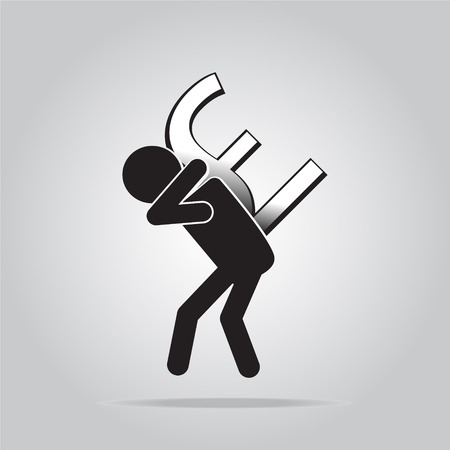Man carrying with a money sign, pictogram illustration  イラスト・ベクター素材