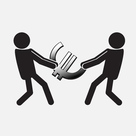 Two Man pulling a money symbol,  Money concept illustration